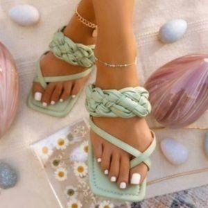 Braided Square Toe Sandals in Sage